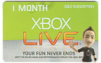 XBOX Live 1 Month Card